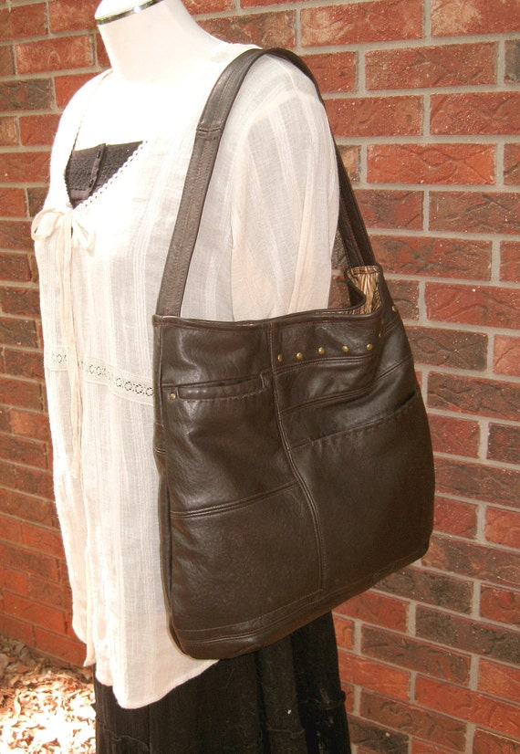 20% Off SALE - Enter - 20June - at checkout - Recycled Leather Handbag - Large Hobo in Chocolate Brown - Upcycled Leather Bag