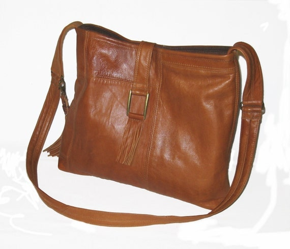 Reserved for Lisa - Recycled Leather Handbag in Deep Caramel Brown with 2 Tassels - Upcycled Leather Bag