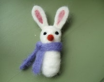 Needle Felted White Wool Bunny Rabbit Purple Scarf Brooch Pin