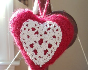 Knitted/Felted Red Heart with Lace Ornament