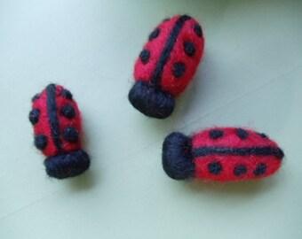 Red and Black Wool Ladybug Fridge Magnets, Set  of 3 Needle Felted Decor