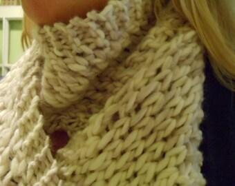 Hand Knit Mauve Mist Bulky Lace Scarf