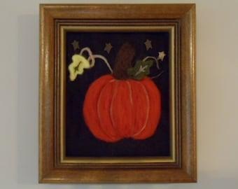 Orange Wool Harvest Pumpkin Gourd Autumn Scene Wall Art Needle Felted