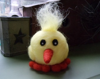 Whimsical Yellow Wool Chickie Chick Peep Needle Felted Easter Decor