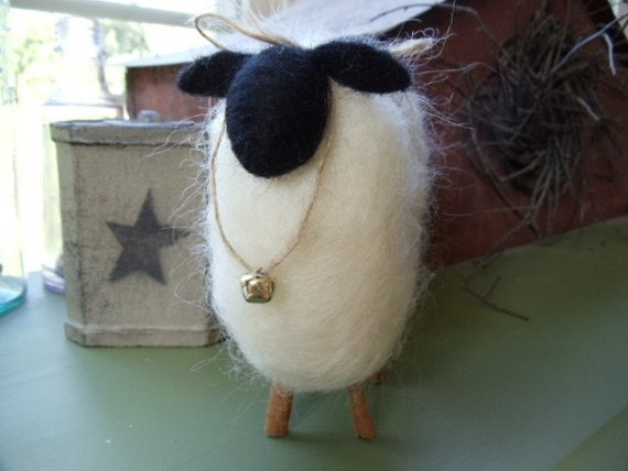 Primitive Country White Mohair Sheep Cinnamon Stick Legs Needle Felted
