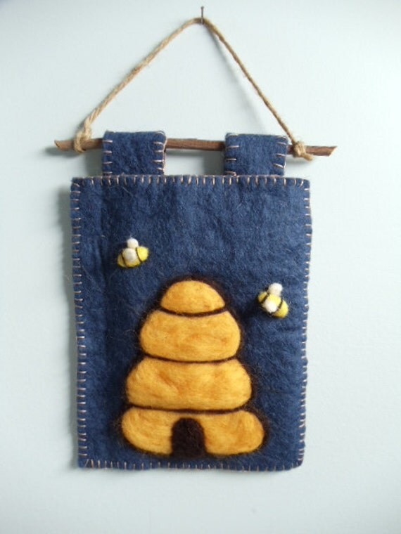 Primitive Country Blue Yellow Wool Beeskep Bee Hive Honey Bee Wall Fiber Art Needle Felted