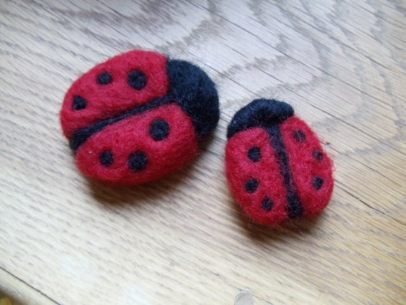 Red and Black Wool Ladybug Brooches Pin, Set of 2 Needle Felted Jewelry