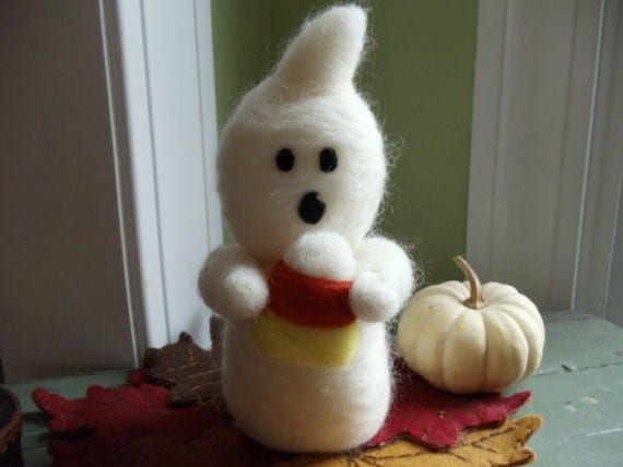 White Wool Halloween Ghost Candy Corn Decor - Needle Felted