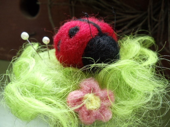 Needle Felted Red Wool Ladybug in Curly Green Pasture Pincushion Decoration