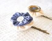 Yoyo Bobby Pins of Upcycled blue silk & white cotton by StitchingInCircles