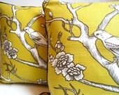 Woodland pillow, bird print, geometric print, nature pillow