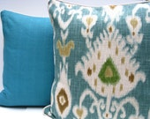 Ikat pillow,  turquoise pillow, turquoise and white pillow