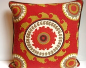 Red Ikat pillow, suzani pillow, ponderosa on red pillow, red pillow