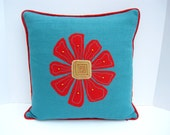 Art pillow, flower pillow, turquoise and red pillow
