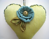 Heart sachet, plush heart, green and blue ornament