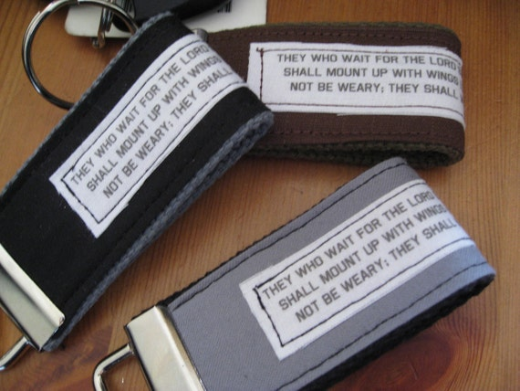 Manly Custom Scripture or Quote Key Fob