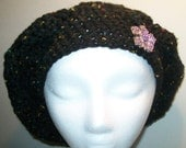 Black slouchy beret hat with pin