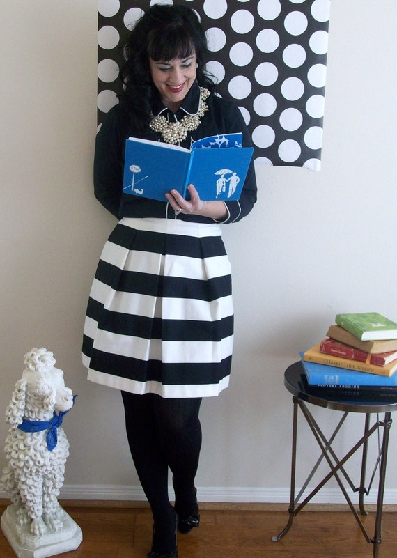 Black and White Striped Skirt full gathered and pleated skirt