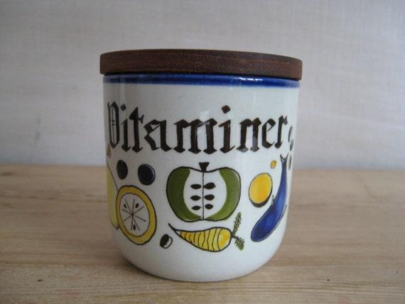 vintage Danish - VITAMINS - lidded jar by KNABSTRUP handpainted decoration