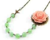 Peach Pink and Green Flower Necklace - Adriana (FREE Matching Earrings)