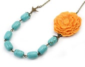 Sorbet Orange and Turquoise Flower Necklace - Beatrice (FREE Matching Earrings)