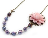 Purple and Pink Flower Necklace - Anastasia (FREE Matching Earrings)