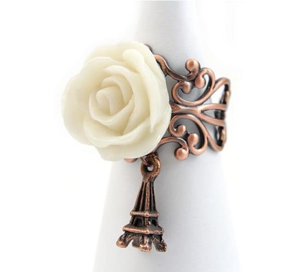 Off White Rose Parisian Charm Ring - Clarice
