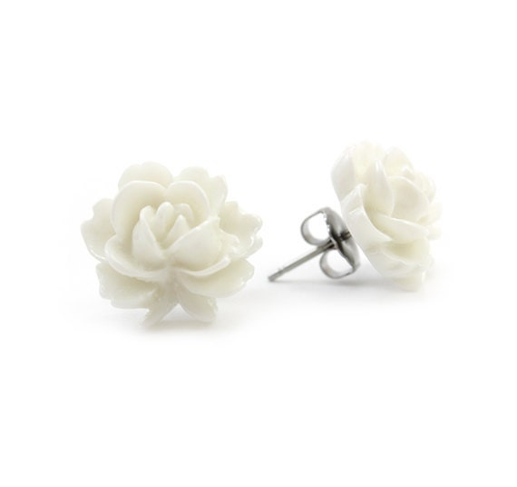 White Rose Post Earrings - Flora