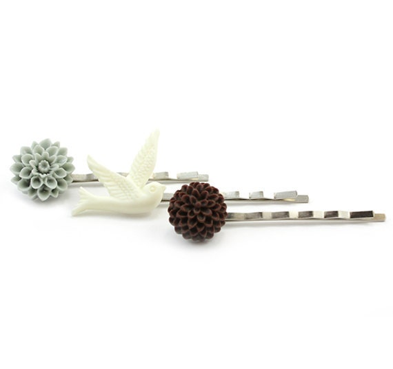 Bobby Pin Set -  Hair Pins - Pale Blue, White and Brown - Aniela