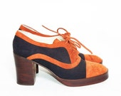 Vtg 70s Sissi Rust & Navy Leather Oxfords Sz 7B
