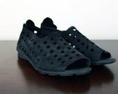 Vtg 90s Black Leather Avant  Cutout Peep Toe Flats Sz 7.5/8