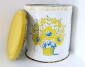 RUSTIC YELLOW TIN, Storage container with Flowers