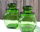 Set of 2 Avocado Green Glass Jar Canisters For Your Retro Kitchen