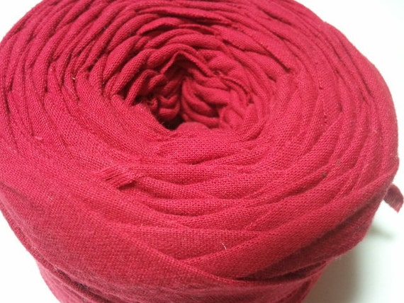 Racy Red  Upcycled Fabric Yarn, Machine Cut