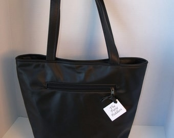 Black Leather Tote Bag - Leather Purse-Leather Carry On Bag-Shopping Bag-Leather Book Bag-Overnight Bag-Knitting Bag for Women-made in  USA