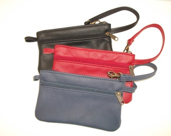 Medium Size Leather Wristlet - Black leather other colors available