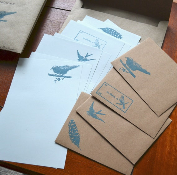 Bird Themed Letter Paper and kraft Envelopes- 13 Piece Set-Stationery