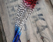 Red White and Blue, Feather Hair Extension. Unique, Vibrant, Grizzly, Patriotic