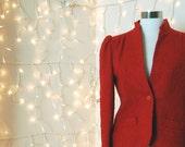 1970s Orange Red Patty Woodard Boucle Blazer Small Medium