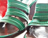 RESERVED 1960s Lovely Green Leather Stacked Heel Sandals 7 1/2 M