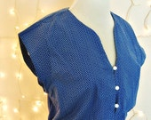 1950s Pretty Blue Day Dress Large to XL