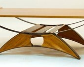 Suspension contemporary coffee table - wood and steel