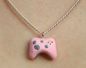 Tiny PINK Xbox 360 Controller Charm Necklace
