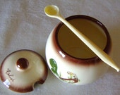 Rooster Themed Vintage Ceramic Condiment Set  includes Metal Carrier