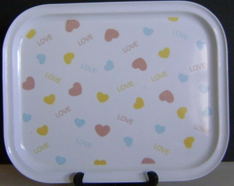 Vintage Valentine Serving / Craft Tray    With Floating Candy Hearts