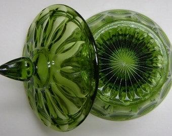 Green Pedestal Candy Dish by L.E. Smith Glass Co.