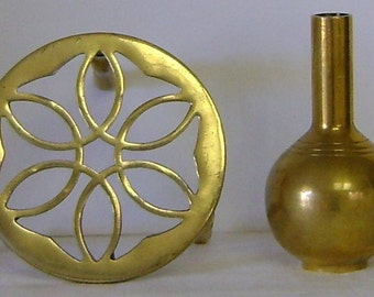 Vintage Brass Bud Vase with Stand