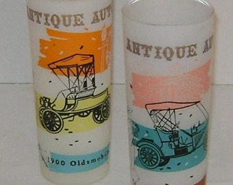 Two Vintage Frosted Tall Glasses Antique Auto Theme