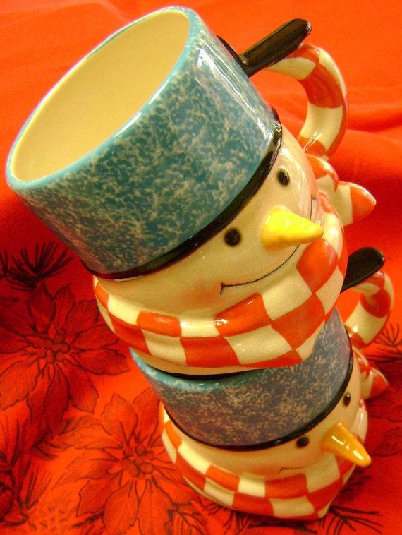 Retired Hallmark Mitford Snowmen Mugs