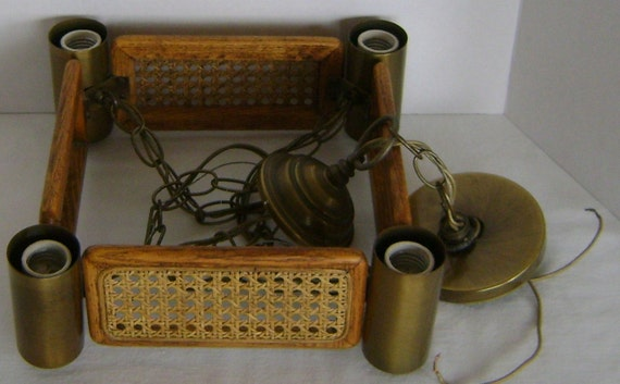 Woven Wicker Ceiling SWAG Lamp